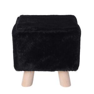 Vanity Soft Furry Ottoman Nursery Wooden Step Stool Padded Seat Foot Rest