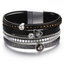 Women Wide Multi-layer Leather Crystal Rhinestone Wrap Charm Bracelet Jewelry