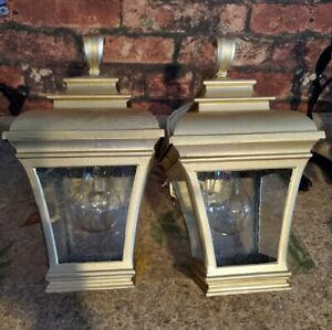 "Set of 2 Gold Tone Metal Vintage Outdoor Porch Light Wall Mount Lantern 12"""