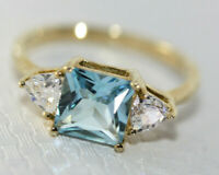 Certified $599 Value 2CT Ocean Blue Topaz Princess Cut 10K Gold Ring Size 7