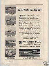 1962 PAPER AD Matthews Motor Boat Co Port Clinton Ohio 42' 52' Fly Bridge