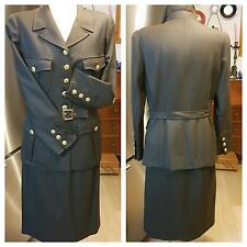 Authentic CHANEL Military Style Jacket & Skirt  Wool with Silk,Golden Buttoms