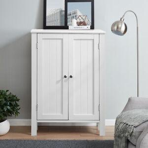 White Cabinet Sideboard Modern Cupboard Wooden Furniture Unit Storage w/ 2 Doors