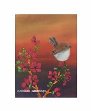 """Superb Fairy Wren Canvas Panel 5"""" X 7"""" By Kennazz Paintzings"""