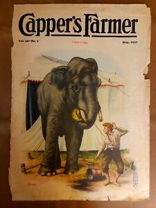 Circus Elephant Vintage Cover May 1927 Magazine Capper's Boy Charles Hexom