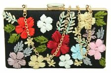 Vintage Hard Case Clutch Bag Embroidered Flowers Diamante Evening Party Bridal