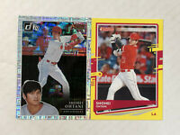 SHOHEI OHTANI LOT OF 2 2020 Donruss YELLOW SP + '19 Donruss Action AS SILVER SP!