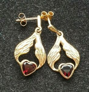 9ct Yellow Solid Gold Garnet Heart Drop Earrings Boxed Mint Low Start No Reserve