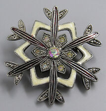 Vintage Jewelry Signed LC Marcasite Snowflake BROOCH PIN Rhinestone Lot X