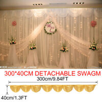 3m Gold Wedding Backdrop Curtain Photography Party Swags Decor Stage