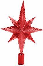 Noël Paillette Rouge Arbre Dessus Étoile Décoration Haut de Sapin Boite Cadeau