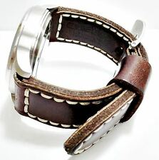 24, 26 mm 100% Calf Handmade Leather Band Strap Steel Buckle veg tan crazy horse
