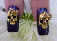 *BLING* Halloween 3D Alloy Metallic Nail Art Gold *Skull*  With Rhinestone Bows