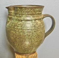 """Studio Pottery Pitcher Green and Brown Glaze 7.5"""""""