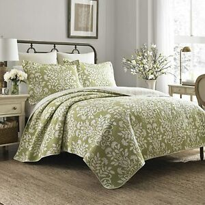 Sage Green White Floral 3 pc Cotton Quilt Set Twin Full Queen King Bed Coverlet