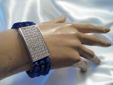 Metallic BLUE Aurora Borealis Crystal Silver Rhinestone Stretch Bracelet LA2B49