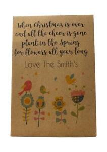 10 x CHRISTMAS Seed Packets Wildflower FREE PERSONALISATION Table Gift Xmas