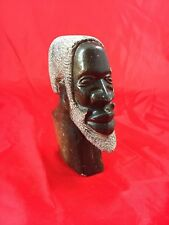 Soapstone Hand Carved Bust of African Man Made in South Africa c1981