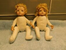 Set of Vintage Twin Baby Boy & Girl Bisque and Cloth Dolls