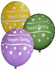"""Set of 25 Happy Spring Easter Dots Latex Balloons 11"""" Mixed colours Party"""