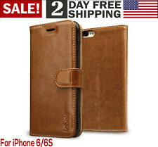 iPhone 6/6S Case Wallet Leather Magnetic Smart Flip Folio Cover Card Slot Brown