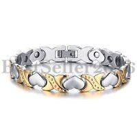 Men Women Heart Magnetic Link Stainless Steel Bracelet w Free Link Removal Tool