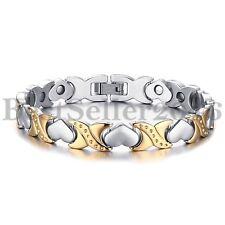 Stainless Steel Love Heart Link Magnetic Bracelet Women Silver Gold 2 Tone Gift