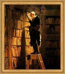 Der Bücherwurm Carl Spitzweg Bibliothek Bibliothekar Lesen H A3 0136 Gerahmt