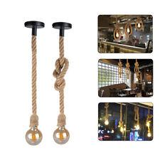 E27 Industrial Hemp Rope Socket Ceiling Pendant Retro Vintage Light Bulb Cable