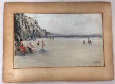 VINTAGE ENGLISH CLIFFS OF DOVER ? SEASIDE BEACH SCENE OIL PAINTING SIGNED E B W