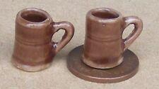 1:12 Scale 2 Dark Brown Ceramic Mugs Tankards Tumdee Dolls House Accessory D2223