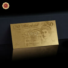 WR UK £50 FIFTY Pounds Note Collectable English Banknotes 24K Gold Foil Crafts