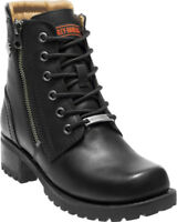 HARLEY-DAVIDSON FOOTWEAR Women's ASHER Black Leather Motorcycle Boots D84250