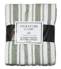 "J & M, 3 Pack, 18"" x 28"", Newport Sage Green, 100% Cotton Striped Kitchen Towels"