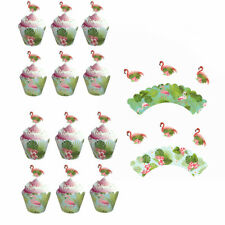 Flamingo Hawaii Cupcake Toppers+Wrappers Double Sided Kids Party Cake Decoration