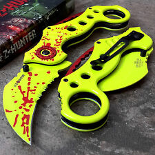 GREEN ZOMBIE KARAMBIT SPRING ASSISTED POCKET KNIFE Tactical Open Folding Blade