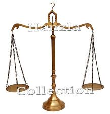 "Vintage Brass Weight Scale 23"" Antique Heavy Statue Balance Justice Lawyer Decor"