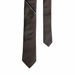Banana Republic Mens Tie 100% Silk Skinny Grey Silver Necktie