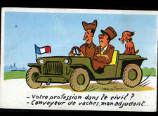 CHAUFFEUR MILITAIRE en Jeep / CONVOYEUR de VACHES illustré Jean de PREISSAC