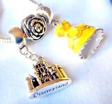 DISNEY BELLE'S PRINCESS DRESS CHARM BEAUTY AND THE BEAST ROSE CASTLE  FREE POUCH
