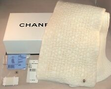 "CHANEL White Cashmere Scarf AW001 Limited Edition 70"" X 8"" Italy 100% Authentic"
