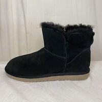 Ugg Koolaburra Boots Black Suede Women's Size 11 Faux Fur Lined Style #1015209