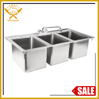 37in Three Compartment 10 x 14 x 10in Bowl Faucet Stainless Steel Drop In Sink 3