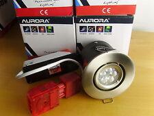 Lot of 4, Aurora i10 Satin Nickel 10w 240v LED Down Spot Light. Warm White.
