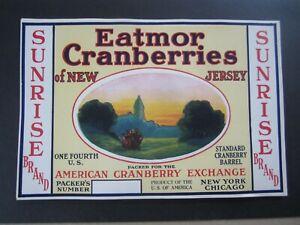 Wholesale Lot of 50 Old Vintage 1930's - SUNRISE - New Jersey CRANBERRY LABELS