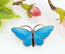 Antique/Vintage Sterling Silver Enamel Butterfly Brooch - Aksel Holmsen Norway