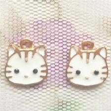 Fashion mini 2Pcs cute cat 13X15mm Pendant beaded Jewelry DIY Findings #751