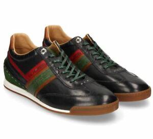 LA MARTINA Herrenschuhe Sneaker Schnürer Echtleder blau grün LFM201071 NEU + OVP