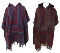 Woolly Poncho Paisley Jumper Colourful Flowers Hooded One Size Plus Chic Boho