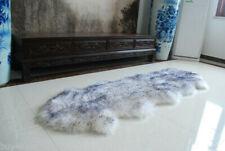 Double Pelt Sheepskin rug White with Gray tip Lambskin rug 6' x 2' Two Pelts rug